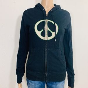 Lucky Brand Peace Sign Black Full Zip Hoodie